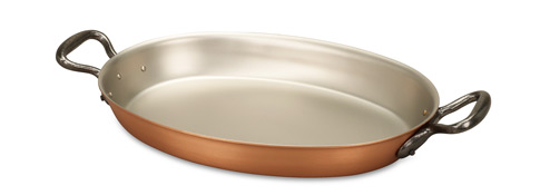 falk culinair classical 30cm x 20cm oval copper au gratin pan