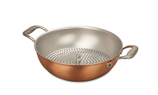 Signature Range 28cm Copper Wok with Loop Handles & Steamer Insert