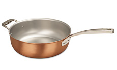 Signature Range 28cm Copper Saucier Pan with Helper Handle