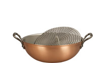 28cm Copper Wok with Loop Handles & Steamer Insert