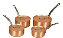 Falk Copper Saucepan Set